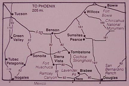 Map of Southeastern Arizona